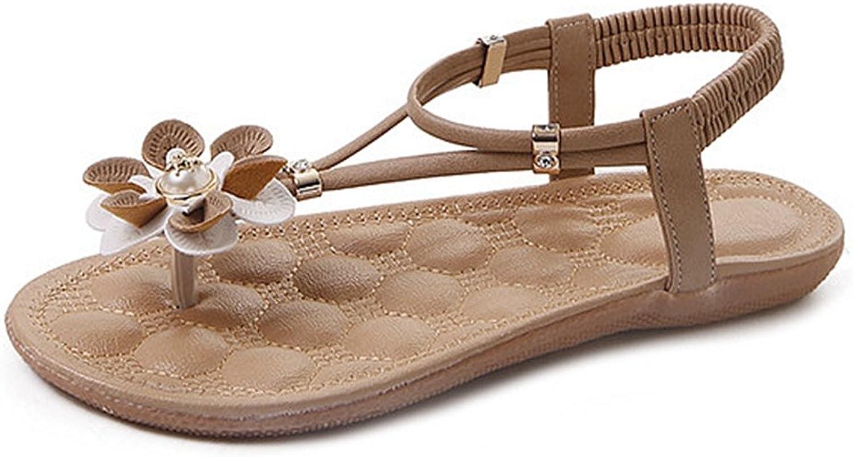 CYBLING Womens Flat Sandals Fashion Bohemian Flower Beach T-Strap Sandal shoes
