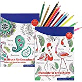 COM-FOUR® 2X Coloring Books for Adults for Relaxation and Meditation in Various Designs