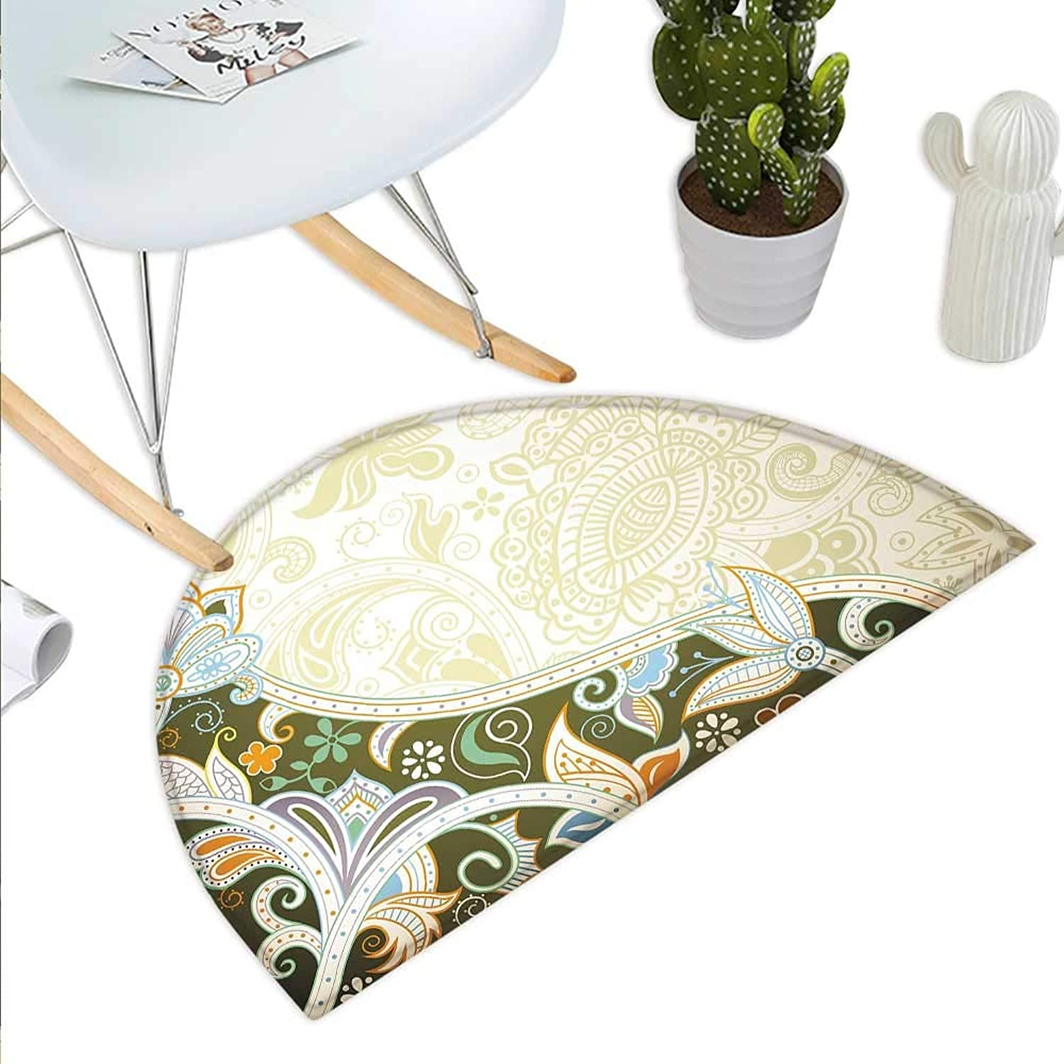 Olive Green Semicircle Doormat Abstract Floral Pattern Leaves and Stripes Asian Inspirations Curvy Oriental Halfmoon doormats H 27.5  xD 41.3  Multicolor