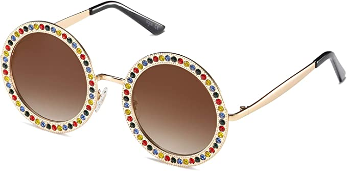 Retro Sunglasses   Vintage Glasses   New Vintage Eyeglasses SOJOS Shining Oversized Round Rhinestone Sunglasses Festival Gem Sunnies SJ1095  AT vintagedancer.com