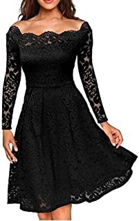 Cocktail Formal Long Sleeve Dresses for Women Lace Off The Shoulder Party Wedding Dress