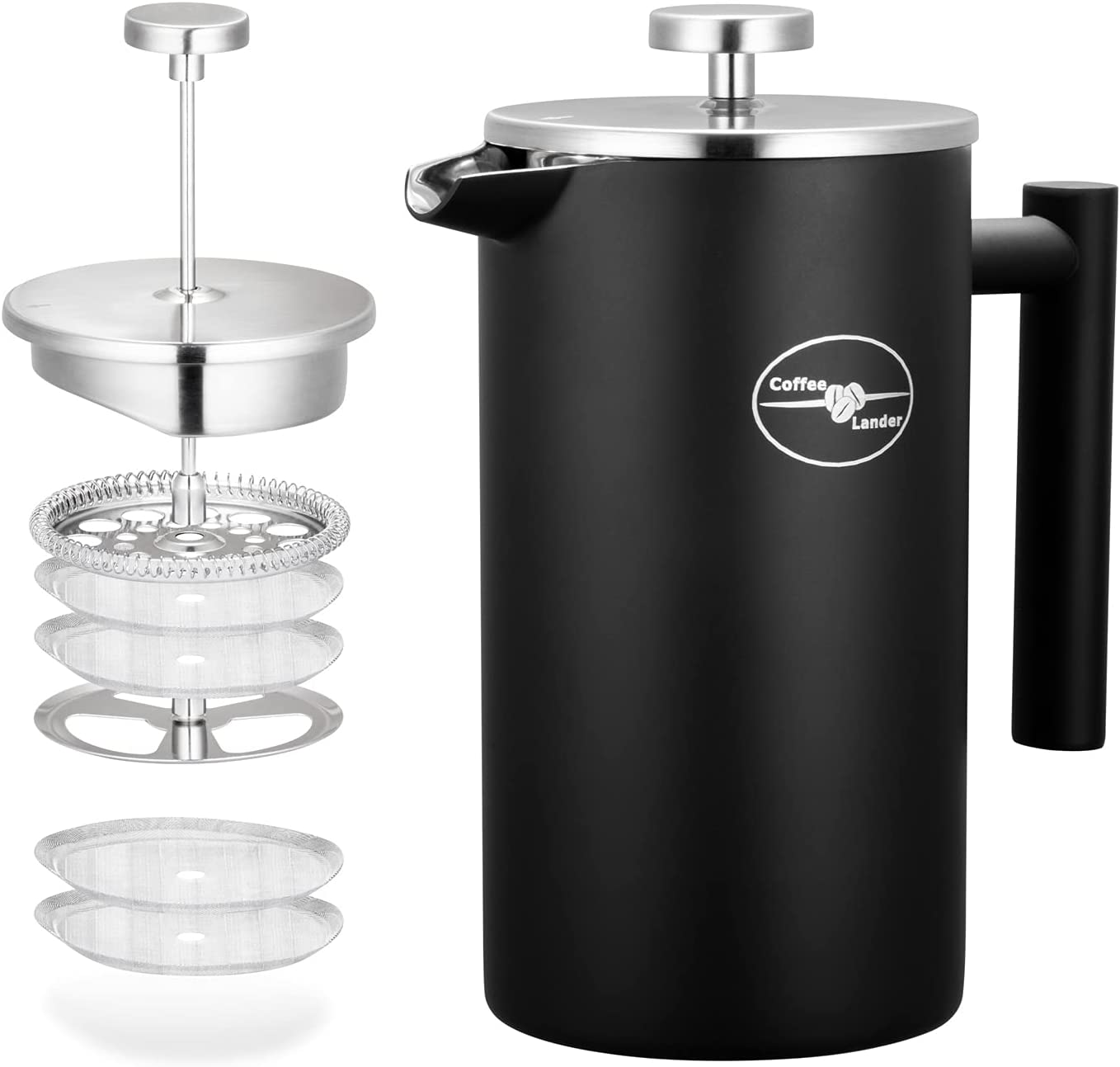 Coffee Lander French Press Kansas City Max 42% OFF Mall Maker Insulated Double C Wall