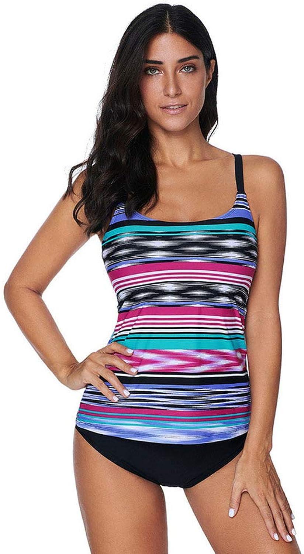 Swimsuit Sleeveless Stripe Swim Top Women Sunscreen QuickDrying, Single Piece (no Pants)