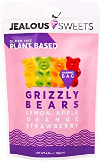 JEALOUS SWEETS Lemon Apple Orange Strawberry Gummy Grizzly Bears (1 x 125g Share Bag) Vegan Gluten & Dairy Free Gummies. T...
