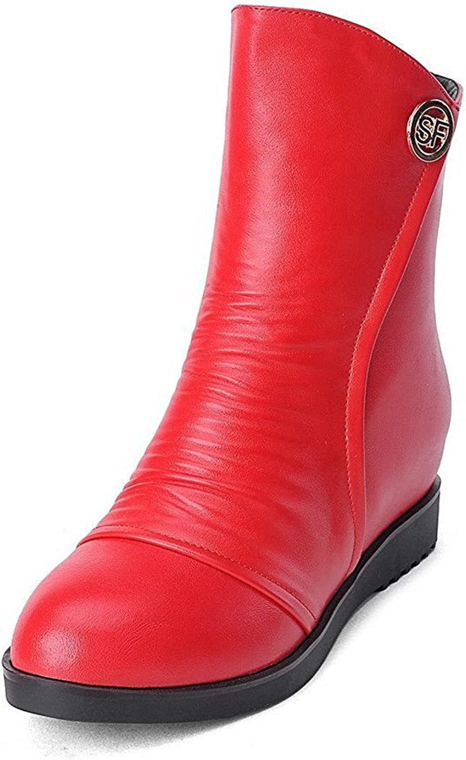 Laolaooo shoes Women's Soft Material Round Closed Toe Kitten-Heels Zipper Solid Boots