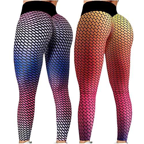 2 Stück Damen Sport Leggings Hohe Taille Yogahose Fitnesshose Blickdicht Shape Gym Leggings Lang Figurformende Anti Cellulite Compression Bauchweg Lauf Tight Enge Sporthose