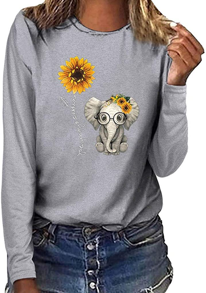 Positive Saying Shirts for Women Long Sleeve Sunflower Elephant Print Graphic Tees Faith Tops You are My Sunshine