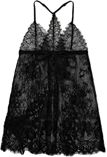 Women Sexy Lace Lingerie Set Plus Size, Ladies Solid Mesh V-Neck Backless Halter Nightdress Underwear Set