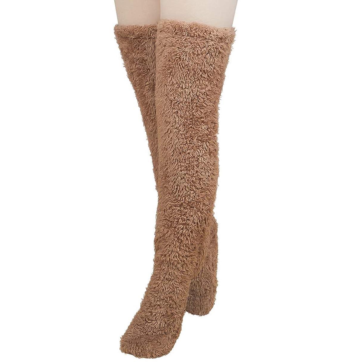 滞在効能ある一緒にMiuko 足が出せるロングカバー 極暖 レッグウォーマー ふわふわ靴下 ロングソックス 冷えとり靴下 毛布ソックス 冷え対策 防寒ソックス あったか 超厚手 男女兼用
