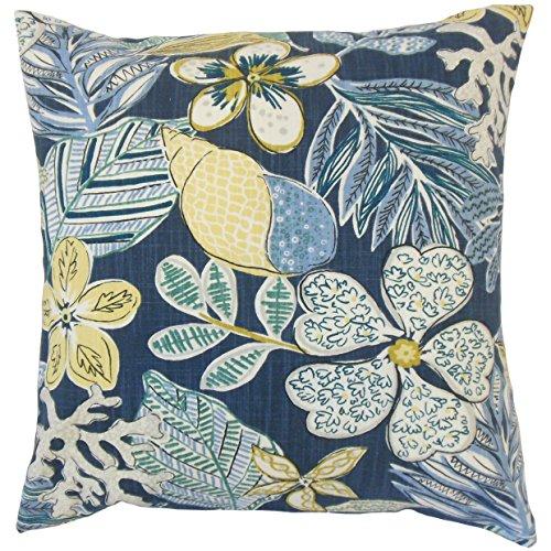The Pillow Collection P18-ROB-MIXEDMOTIFS-INDIGO-C100 Felice - Almohada Floral, Color índigo