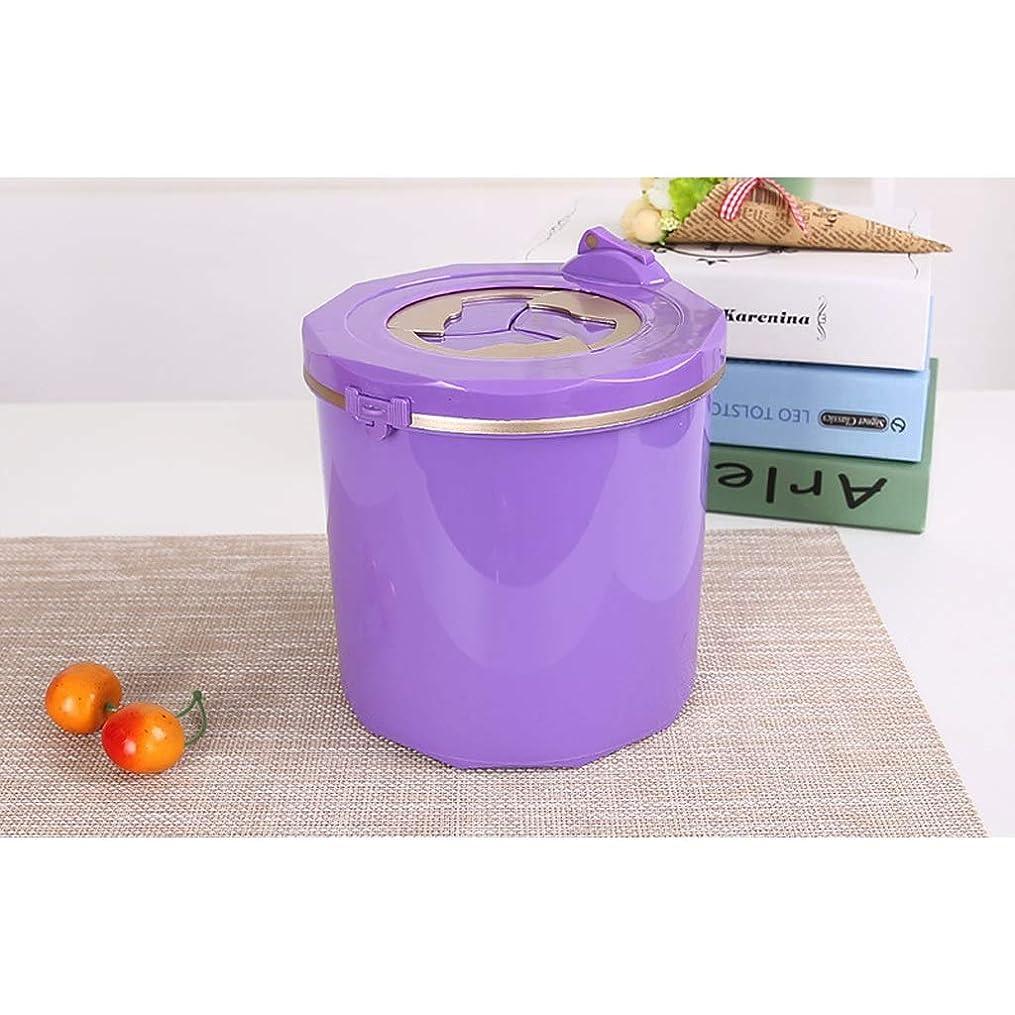 肘掛け椅子災害ウェイトレスSHWSM 小さなゴミ箱/プレスタイプオフィスデスクトップ収納ボックス/ラウンド防水カバーデザイン/環境保護PP素材 (Color : Purple)