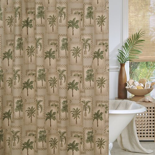 beige brown tropical beach palm tree shower curtain