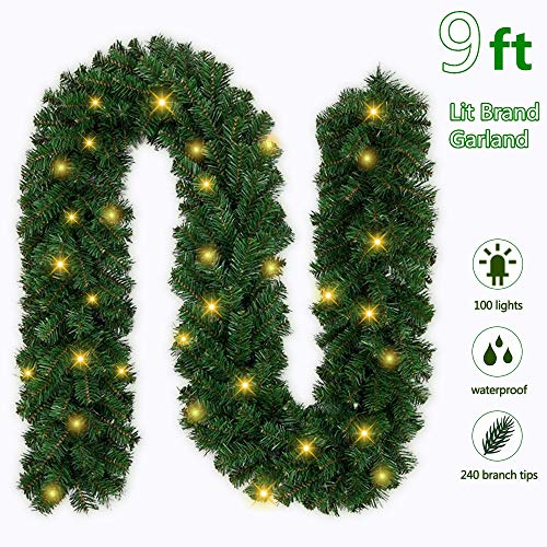 Ricdecor Christmas Garland with Lights 9 Foot Lighted Spruce Garland with 100 Clear Lights Greenery Christmas Garland Decorations for Outdoor/Indoor(9 Foot with 100 Lights)
