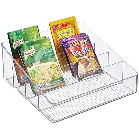 mDesign rangement de cuisine spacieux – boite de rangement pour soupes en sachet, épices, etc. – porte-épices en plastique avec 3 compartiments pour l'armoire et le plan de travail – transparent