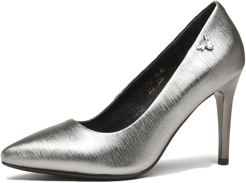 Frau Schwarz High Heels Mode Sexy Arbeit Gericht Schuhe Hochzeit Schuhe Leder Party Nachtclub,Silber-8.8-EU 34 UK 2