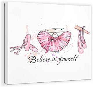 Inspirational Pink Canvas Wall Art for Bedroom Motivational Bathroom Quotes Ballet Pictures Nursery Wall Decor for Girls Bedroom Fashion Artwork for Walls Modern Home Wall Decoration Framed Size 14x14