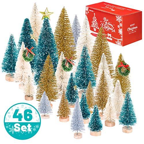 Whaline 46Pcs Mini Árboles de Navidad,Árboles de Sisal Esmerilado Artificial,Árboles de Cepillo de Botella con Base de Madera,DIY Mini Árbol de Pino para Navidad Decoración de Mesa Adornos de Invierno