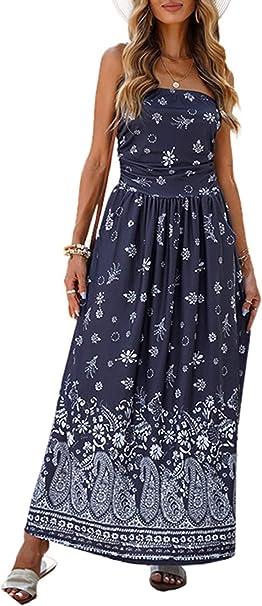 Modasua Damen Boho Kleid Sommerkleid Lang Elegant Freizeitkleid Tragerlos Kleid Maxikleid Armellos Party Strandkleid Cocktailkleid Amazon De Bekleidung