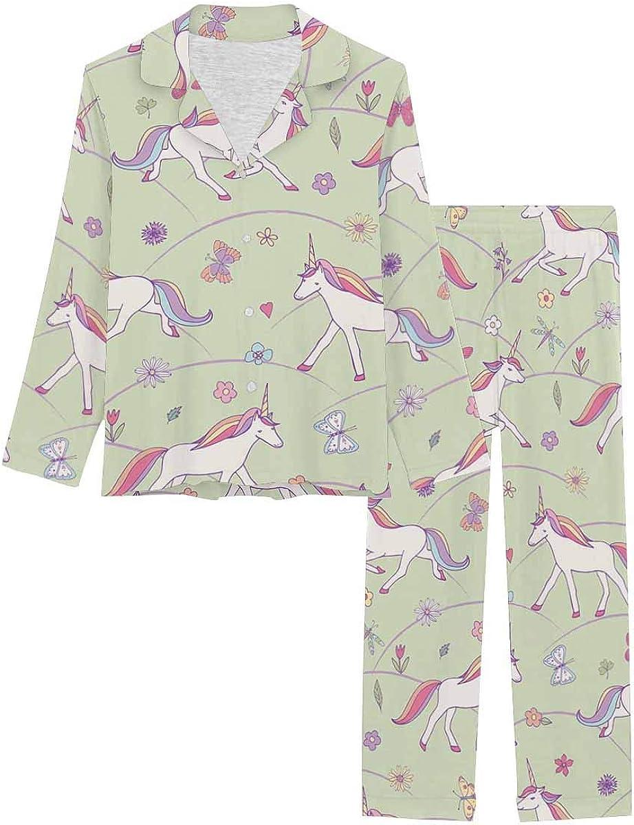 InterestPrint Notch Collar Soft Sleepwear Pj Set for Women Unicorn