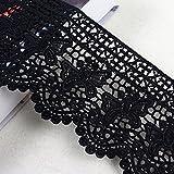 Witgift - cinta de encaje de algodón de estilo vintage y color negro para costura, 1,8 m de largo y 12 cm de ancho
