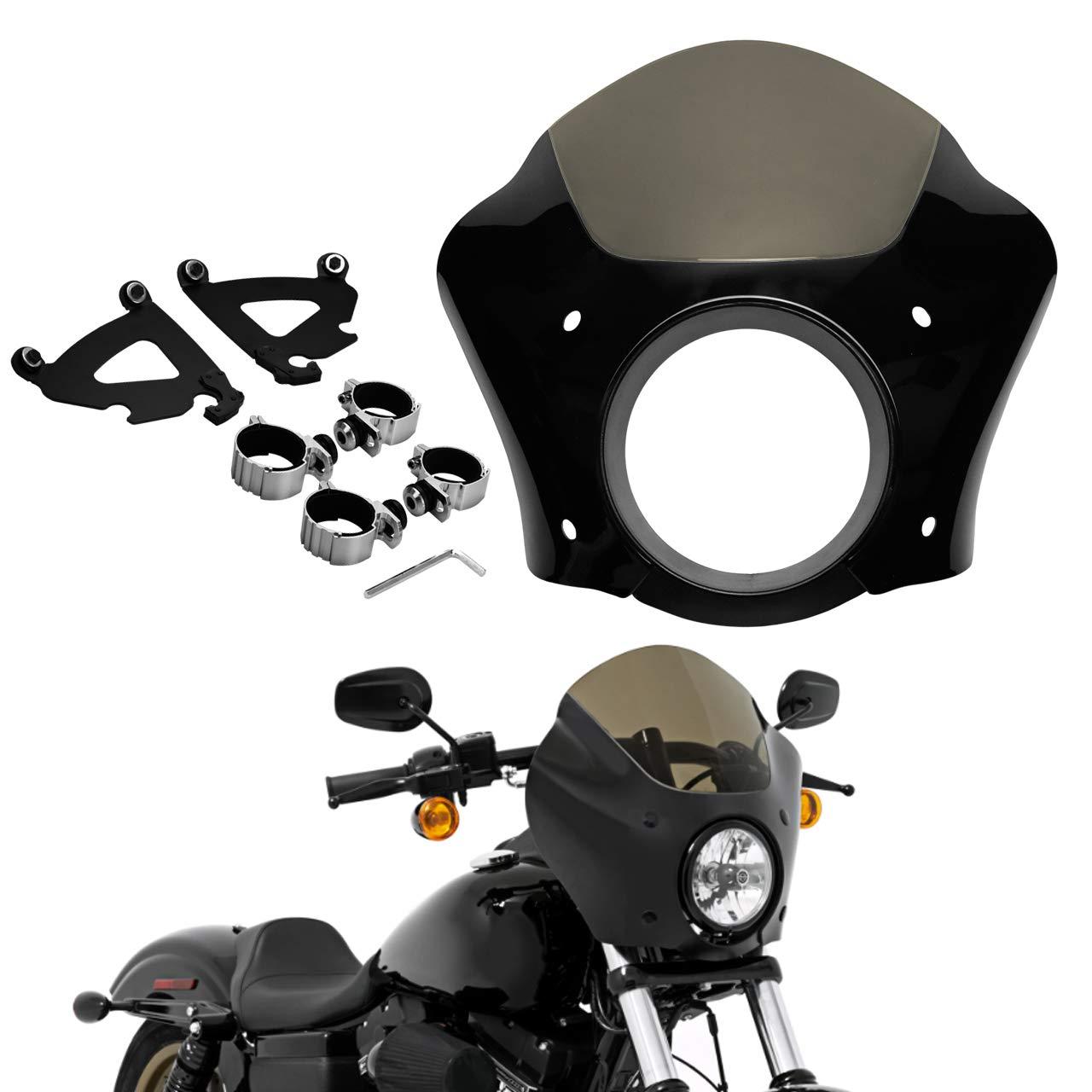 HDBUBALUS Headlight Gauntlet Fairing 49mm Trigger Mount for Harley Dyna Low Rider Street Bob