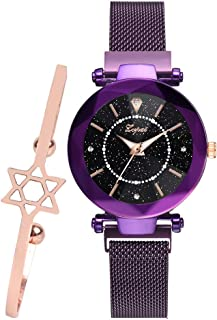 Women's Luxury Fashion Starry Sky Watch Wrist Watch and Bracelet Set Luxury Magnetic Mesh Band Waterproof Dress Watches for Ladies