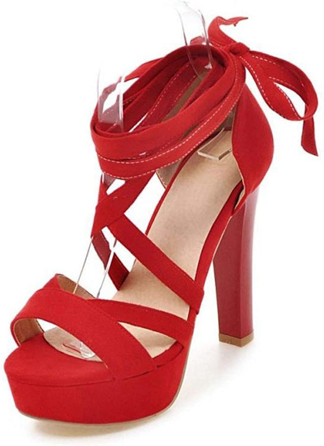 Fairly New Supper High Heels Platform Cross Tied Strappy shoes Sexy Party Gladiator,Red,3