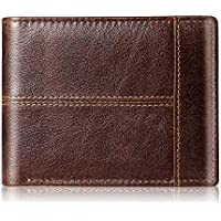 Swallowmall Genuine Leather RFID Thin Bifold Men's Wallets (Brown)