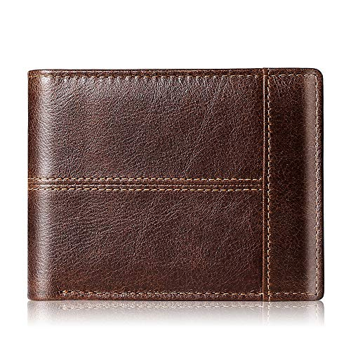 Mens Wallet Slim Genuine Leather RFID Thin Bifold Wallets For Men Minimalist Front Pocket ID Window 10 Card Holders Gift Box (Brown Leather)