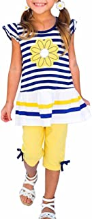 Vestidos Ropa Niña Verano Princesa de Bebé 1-8 Años Margarita Flor Camisa a Rayas Y Pantalón Conjunto