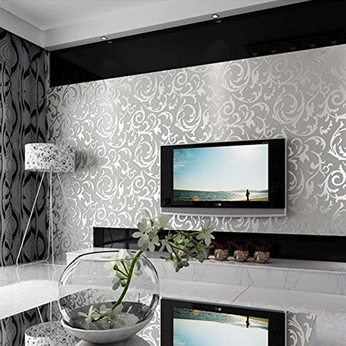 HANMERO Europa Simpel Abstrakt Schön wohnen Vliestapete Gestreift Prägung Wandbild Silber-Grau 0,53mx10m für Livingroom