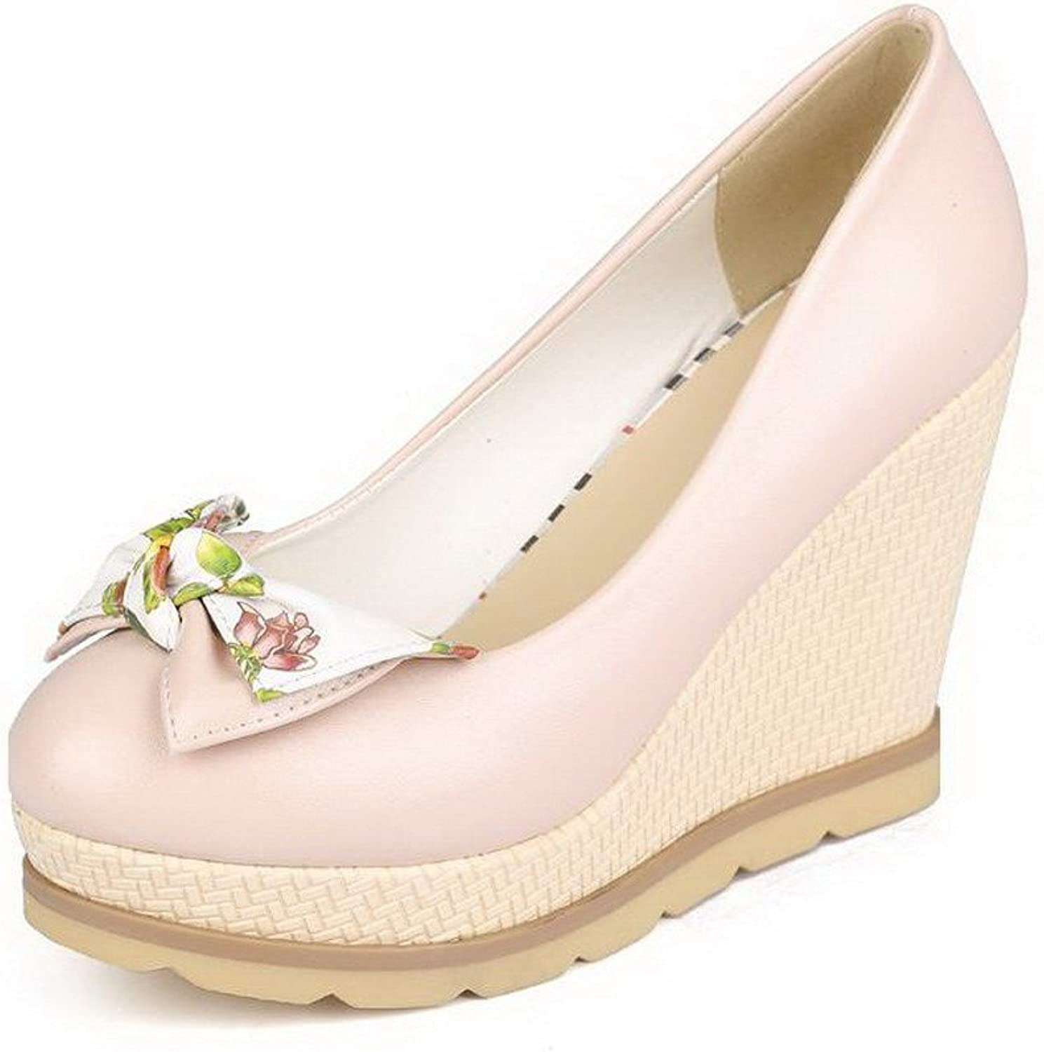 WeenFashion Women's Round Closed Toe Pull-on PU Assorted color High-Heels Pumps-shoes