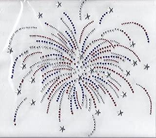 Firework Hot fix Rhinestone Iron on Bling Transfer Applique USA 4th of July Motif