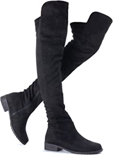 Guilty Heart Womens Comfy Vegan Knee High Boots - Low Flat Heel Over The Knee Boots Shoes (6 M US, Blackv1 Suede)