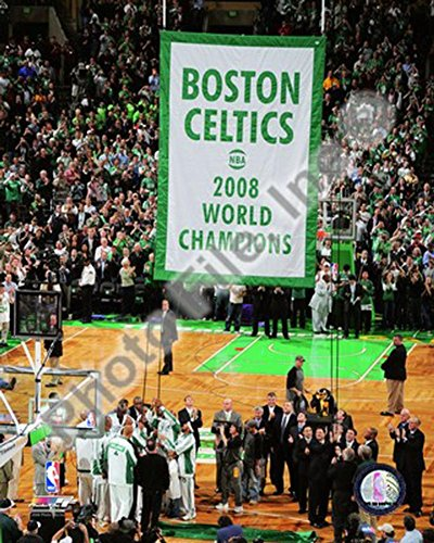 The Boston Celtics Raise their 2007-08 Championship Banner Photo 8 x 10in