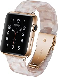 LINKWOW Resin Strap Compatible with Apple Watch Band 38mm 40mm 42mm 44mm Series1 Series2 Series3 Series4 Series5,Ladies and Men Watch Strap,iWatch Replacement Wristband/Bracelet Sport(Pink Flower)