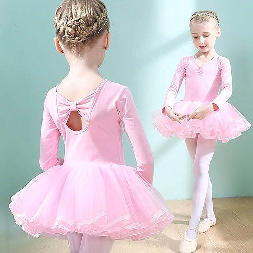 JIE. Costume de Danse de Ballet-Filles Ballet Jupe Petite Fille Danse Latine Pratique vêtements Danse Jupe Danse vêtements,rose,130cm