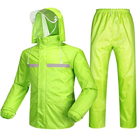 Regenbekleidung Herren Damen Wasserdicht Set Herren Wasserdicht Regenmantel Jacke Mantel Hose Unterteile Set Anzug Arbeit Camping Angeln Color Fluorescent Green Size Xxxl Küche Haushalt