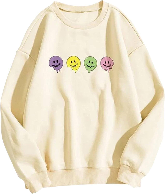 MISSACTIVER Women Oversized Fleece Smiley Face Graphic Sweatshirts Crewneck Long Sleeve Drop Shoulder Pullover Sweater Tops