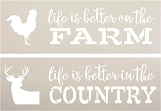 Life is Better Stencil Set with Chicken & Deer by StudioR12 | Pack of 2 Rustic DIY Home Decor | Farm & Country | Craft & Paint Wood Signs | Reusable Mylar Template | Select Size (15 x 5 inch)