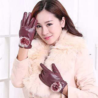 1 Pc (1 Pair) Women PU Leather Winter Glove Color Wine Rabbit Fur Ball Mittens Unisex Mens Womens Boys Youth Inspiring Fashionable Extreme Softball Tactical Work Hand Wrist Straps Dryer Touch Gloves
