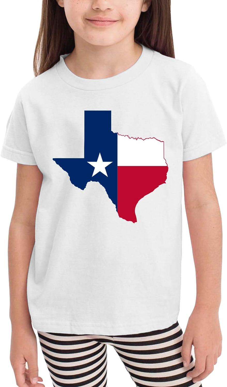 Texas Map Flag Toddler Girls Short Sleeve Crew Neck T Shirt