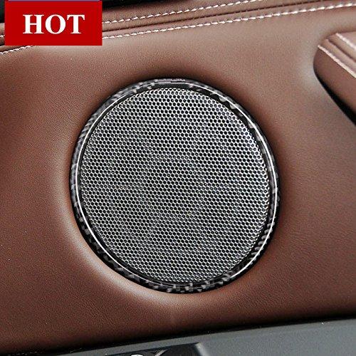 Fibre de carbone Porte de voiture Haut-parleur Trim Housse 4 pcs