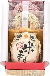 FUN fun 米寿 お祝い プレゼント 長寿の祝いふくろう 紅白うどんセット 化粧箱入り メッセージつき 日本製