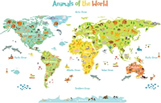 DECOWALL DL-1815 Animals of The World Kids Wall Stickers Wall Decals Peel and Stick Removable Wall Stickers for Kids Nursery Bedroom Living Room