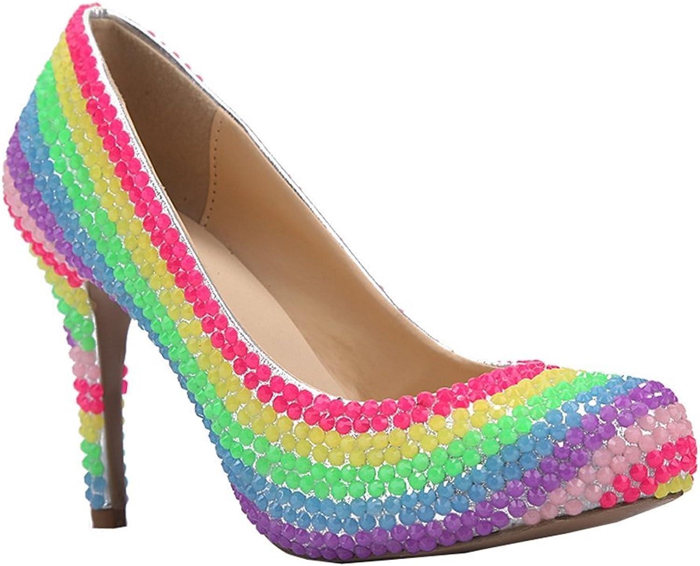 TDA Women's Round Toe Platform Rainbow Luminous Rhinestones Sheepskin Dress Stiletto Pumps