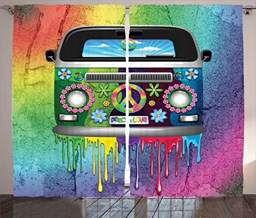 """Ambesonne Groovy Curtains, Old Style Hippie Van Dripping Rainbow Paint Mid 60s Youth Revolution Movement Theme, Living Room Bedroom Window Drapes 2 Panel Set, 108"""" X 90"""", Magenta"""