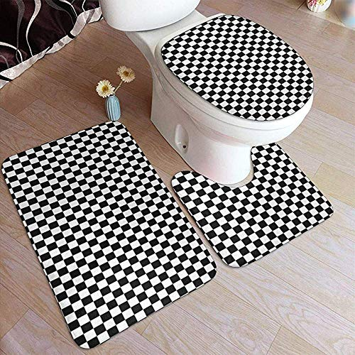 LAURE Bath Mat Fußmatte abstrakt kariert schwarz und weiß nützlich als Karierte 3 Stück Bad Fußmatte Home Badezimmer Fußmatte