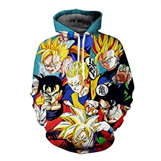 HOOSHIRT Mens Dragon Ball Hoodie 3D Sweatshirts Man Super Saiya Kids Goku Hoo
