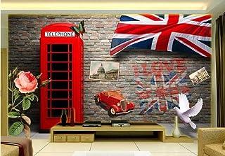 Mural 3D personalizado mural mural grande Retro estéreo europeo y americano cabina telefónica roja pared de ladrillo pared de fondo(W)140x(H)100cm